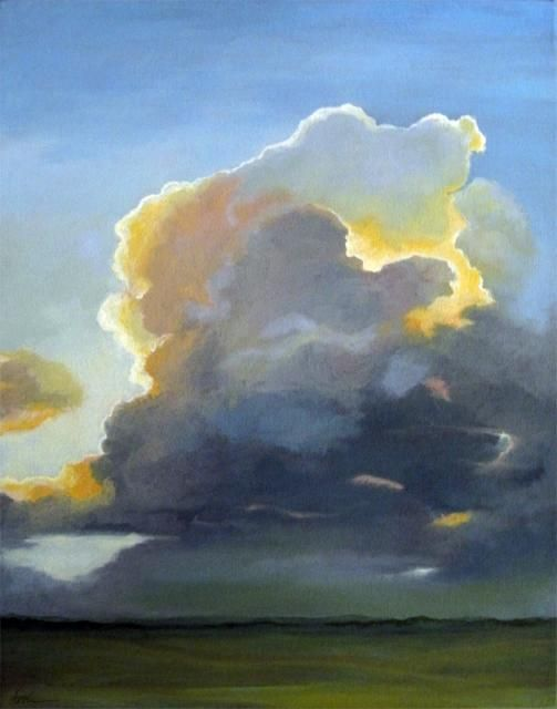 Evening Clouds Landscape Sky Oil Painting By Linda Apple With