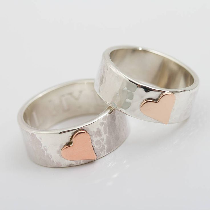 Personalised Wide Beaten Silver Heart Ring | Silver jewelry ...
