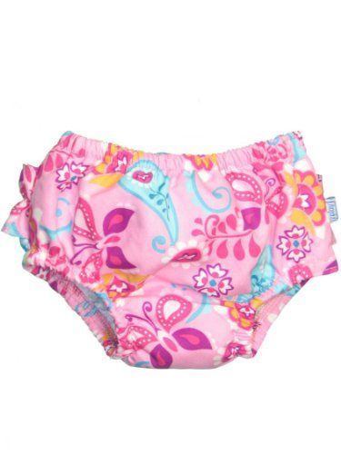 Baby Infant and Toddler Girl Pink Paisley Ruffle Ultimate Swim Diaper by Iplay