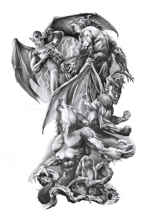 Vampire Werewolf Tattoo Werewolf Tattoo Mythology Tattoos Vampire Tattoo