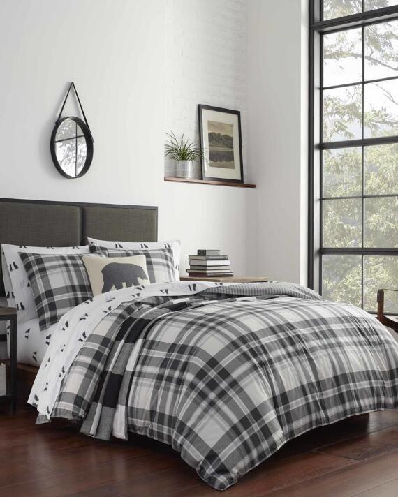 Eddie Bauer 3 Piece Coal Creek Plaid Reversible Comforter Set