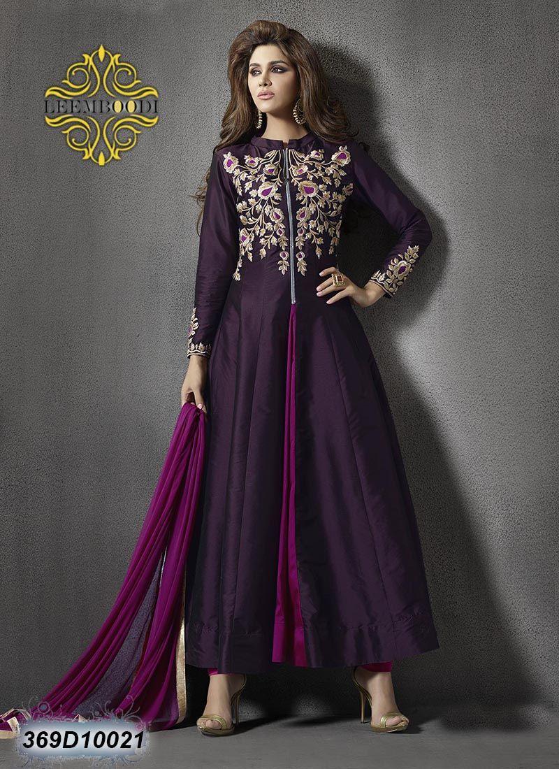 Versatile purple coloured semi stitched anarkali salwar suit go