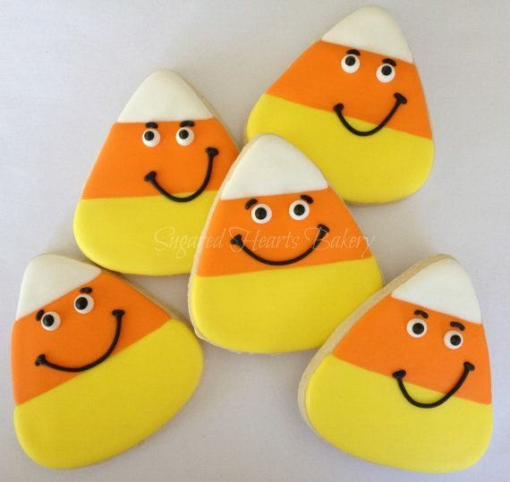 1 Dozen Smiling Candy Corn Cookies by SugaredHeartsBakery on Etsy, $36.00