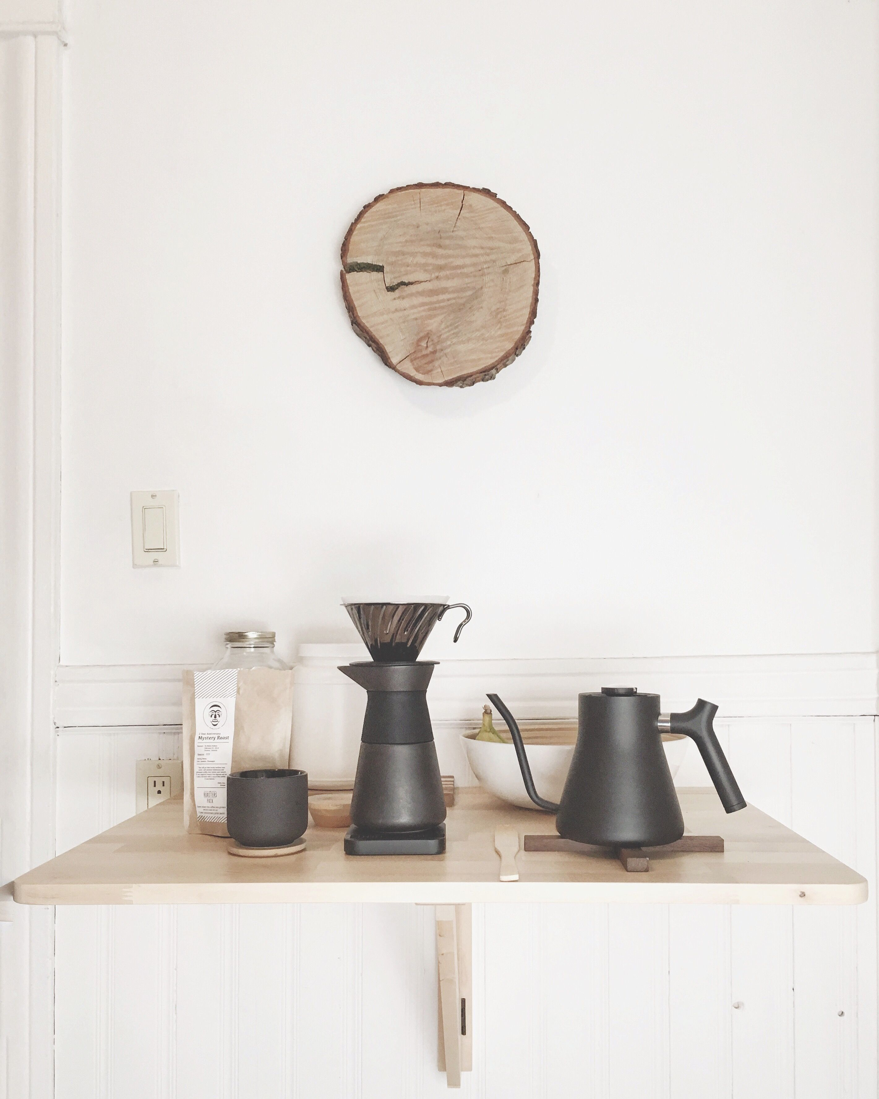 My pour over coffee station in a minimalist kitchen