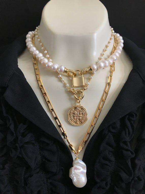 Gold Medallion Choker; Layering necklace; Large Gold Medallion Charm; Dainty Pearl Gold Chain; stacking; Gold Coin jewelry