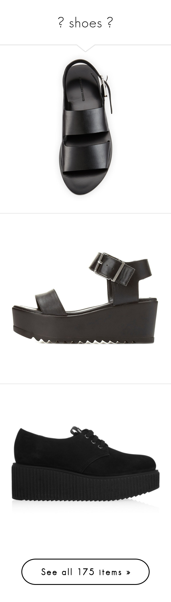 """""""♥ shoes ♥"""" by bx-sxnnt ❤ liked on Polyvore featuring shoes, sandals, open toe flat shoes, leather buckle sandals, leather shoes, alexander wang sandals, flat leather sandals, black, black wedge shoes and black flatform sandals"""
