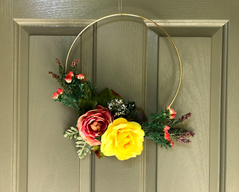 Wedding decorations home  Modern Floral Gold Hoop Wreath  Wedding Decorations Home