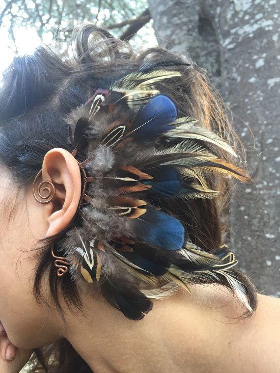 Manchette d'oreille, Accessoire en plumes, Manchette d'oreille sans perçage, Fusion t... Manchette d'oreille, Accessoire en plumes, Manchette d'oreille sans perçage, Fusion tribale, Embout auriculaire, Embout d'oreille en plume, Manchette d'oreille bohème, Boucles d'oreille manchette d'oreille, Fabriqué à la main,
