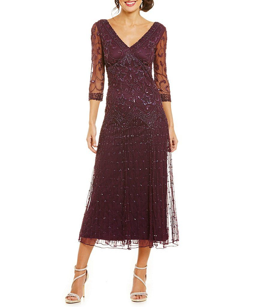 Pisarro Nights 3/4-Sleeve Beaded Dress | Dillards, Clothing ...