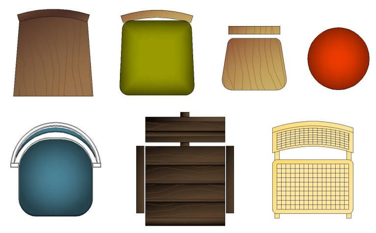 Cad Symbols Colour Furniture Chairs Domestic