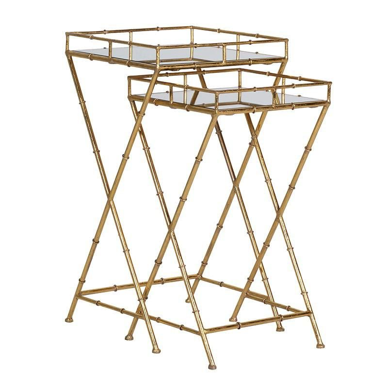 Shangri La Set Of 2 Gold Bamboo Side Tables