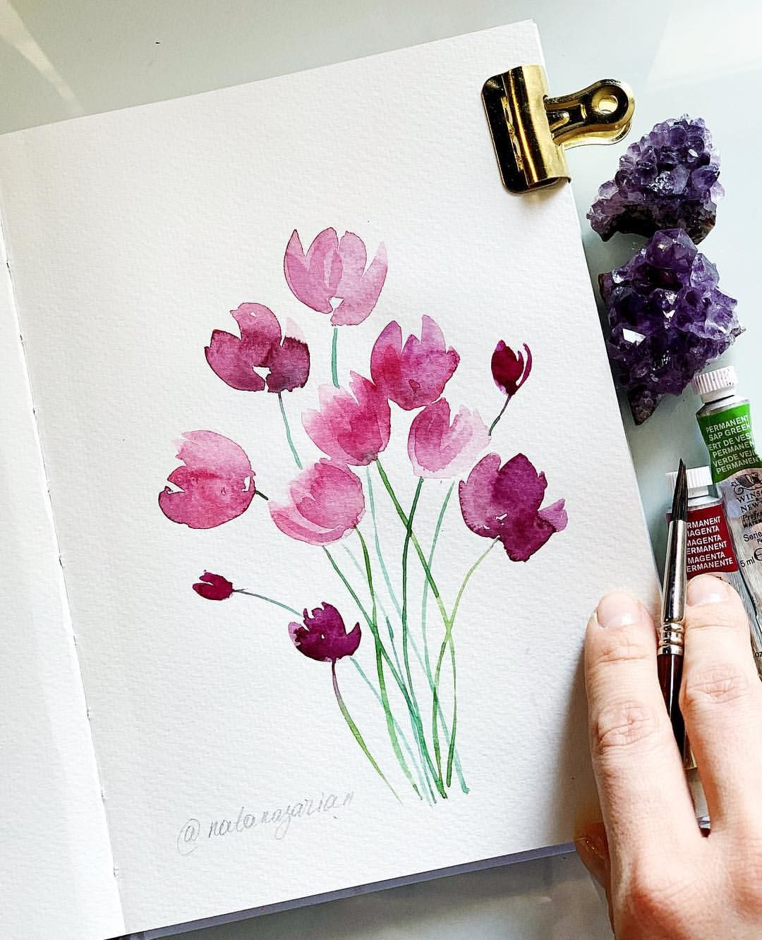 Today Agnes Paint It Fun In Her Blog Asked An Interesting Questio Watercolor Flowers Paintings Watercolor Paintings Easy Flower Drawing