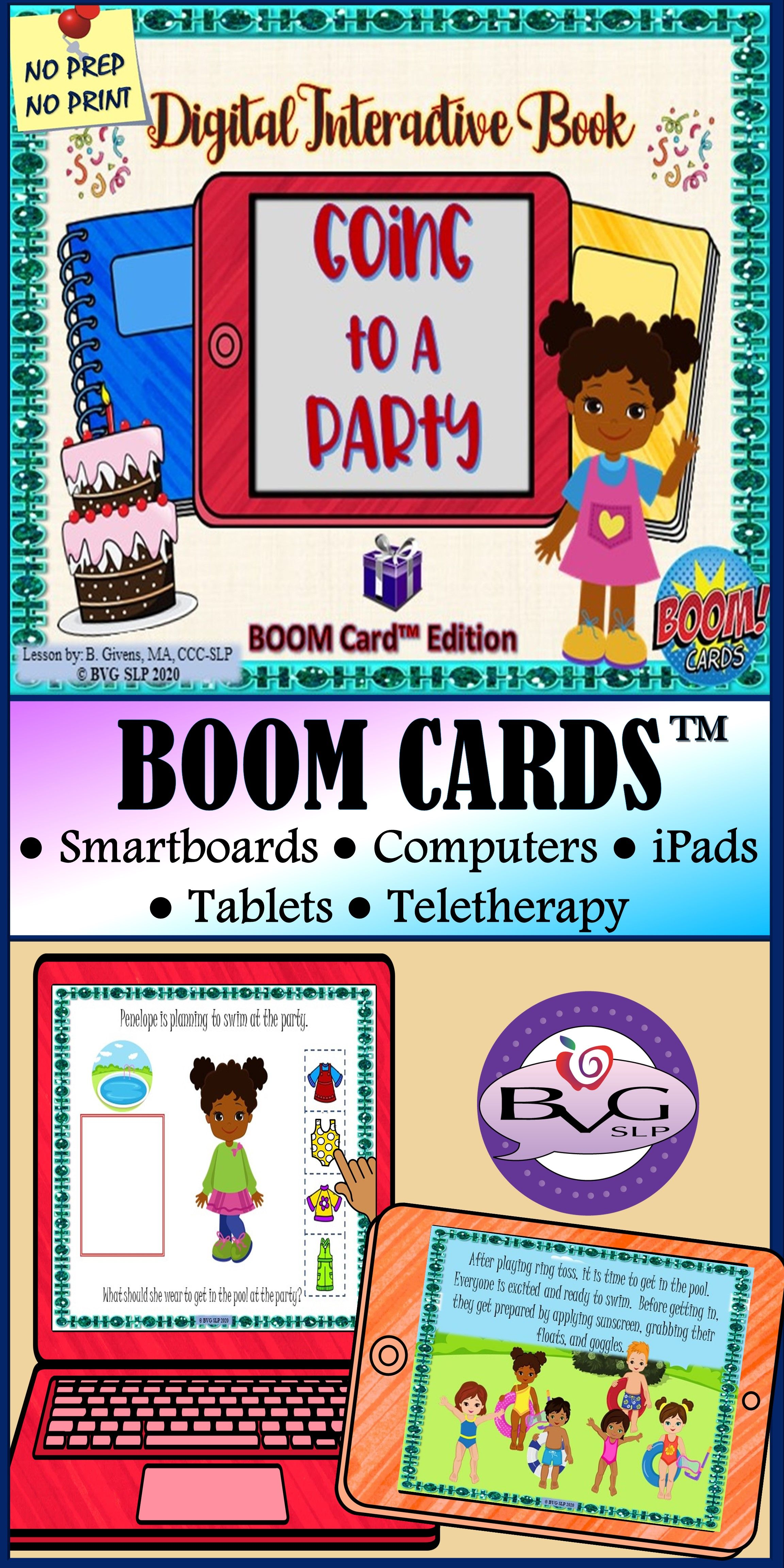 BOOM CARDS Distance Learning Interactive Book Series Going to Party Teletherapy