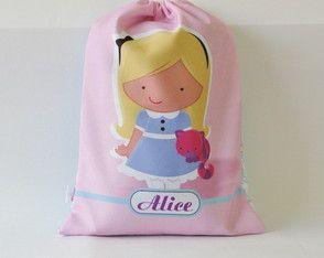 Saquinho Personalizado Alice e Coelho