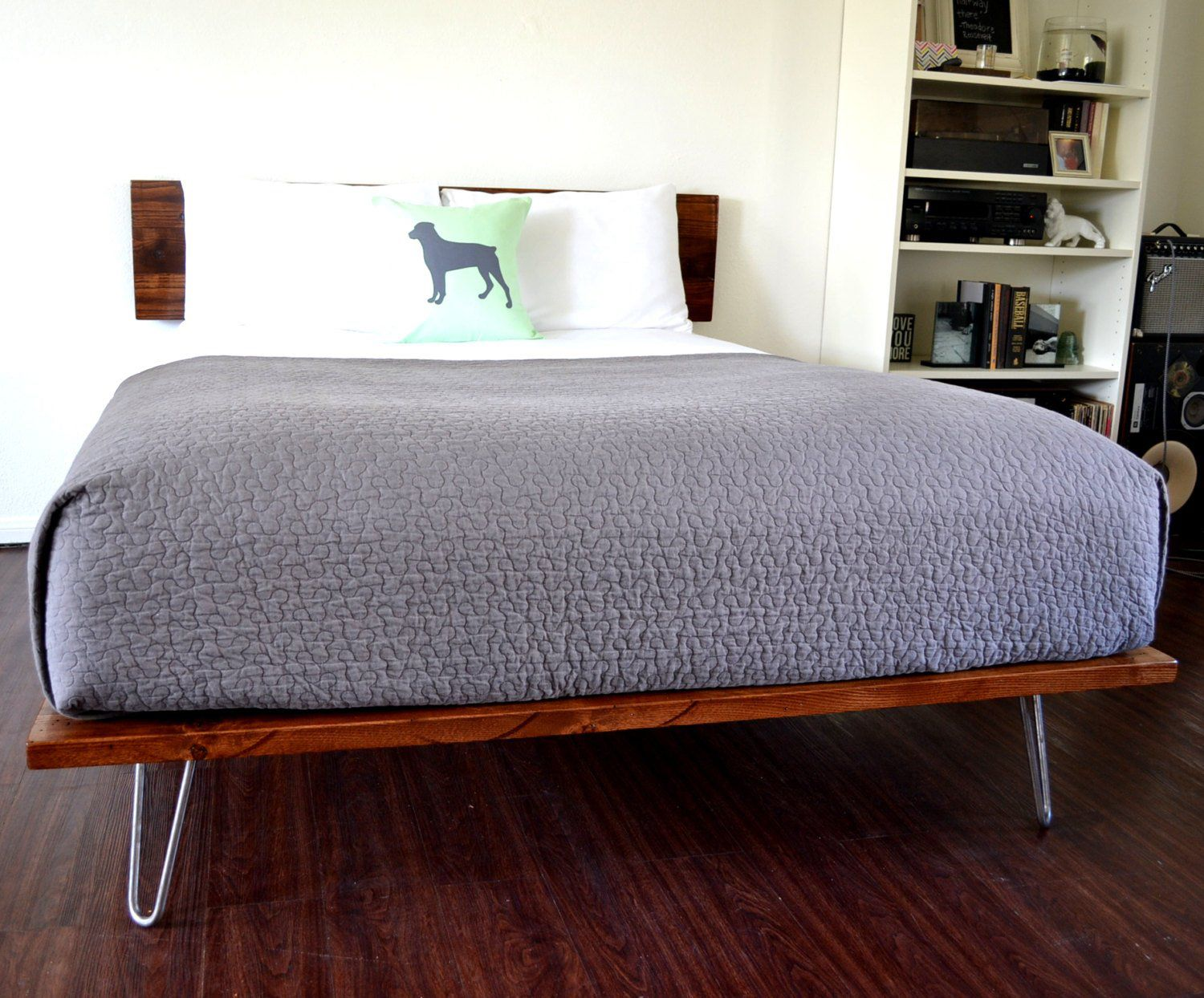 Excited To Share This Item From My Etsy Shop Platform Bed And Headboard Queen Size On Hairpin Legs Minimal Beds And Headboards Platform Bed Wood Platform Bed