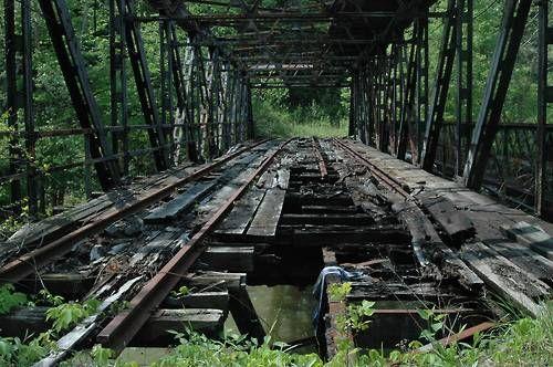 """Broken wooden bridge in Pittsburgh-  """"I have crossed broken bridges in my time"""""""