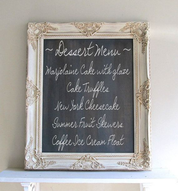 CHALKBOARD Wedding Sign Framed Chalk Board Vintage Wedding Decor Old World  Rustic Ornate Cream Distressed Kitchen