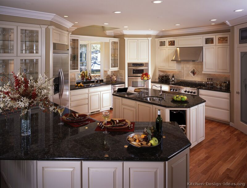 Black Granite Colors Gallery Antique White Kitchen Cabinets Antique White Kitchen White Cabinets Black Countertops