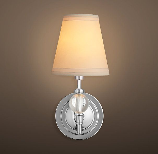 Wilshire Single Sconce RH has satin nickel and polished nickel ...