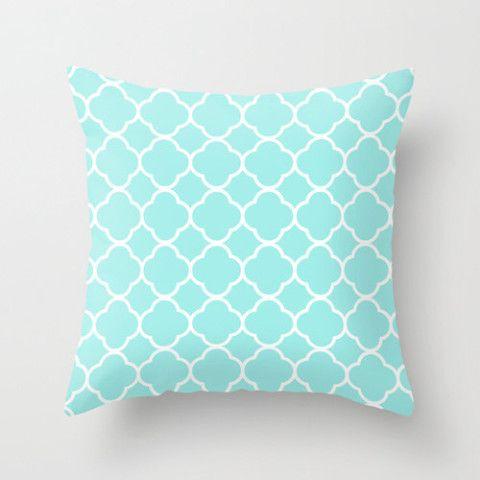 Velveteen Aqua Quatrefoil Pillow Aqua Throw Pillow Housewares