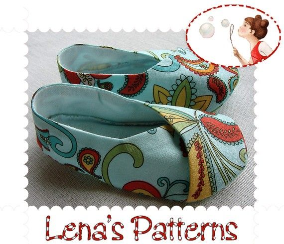 Kimono Baby Shoes Easy Sewing Pattern - 6 sizes - DIY
