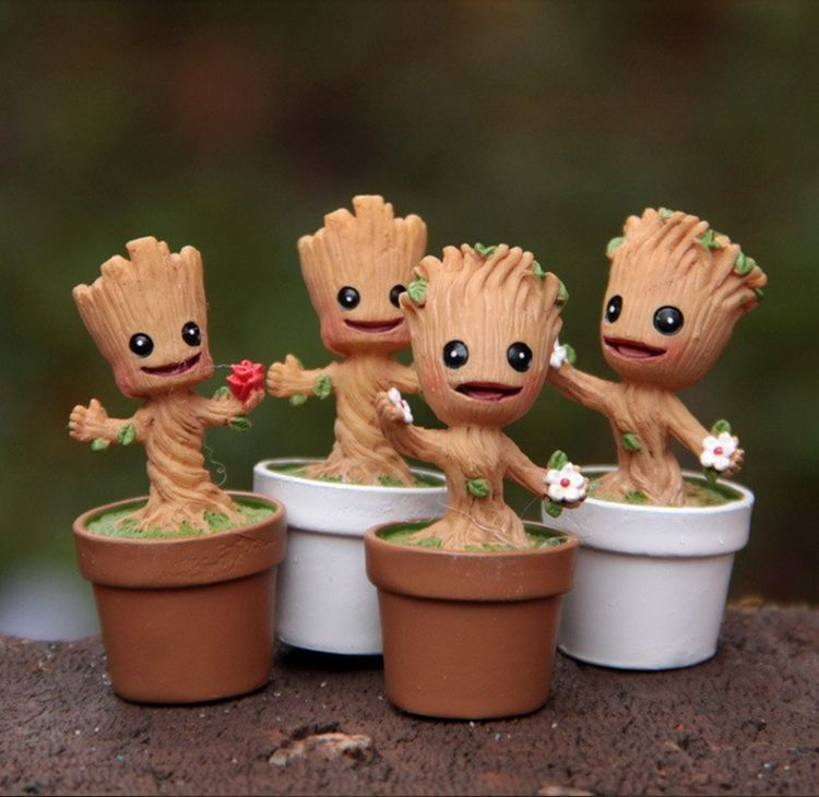4 Pcs Dancing Baby Groot Guardians Of The Galaxy Toy Flower Pot