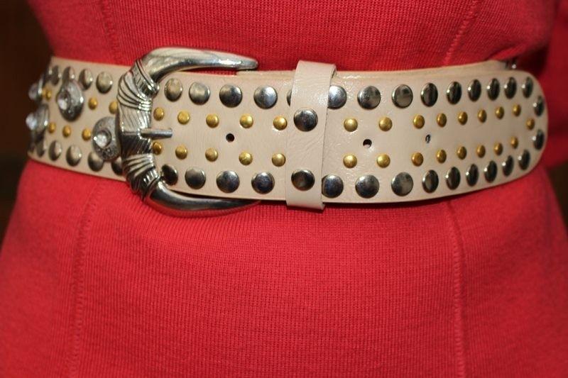 ceintures beige argente dore T90 cuir hippie chic
