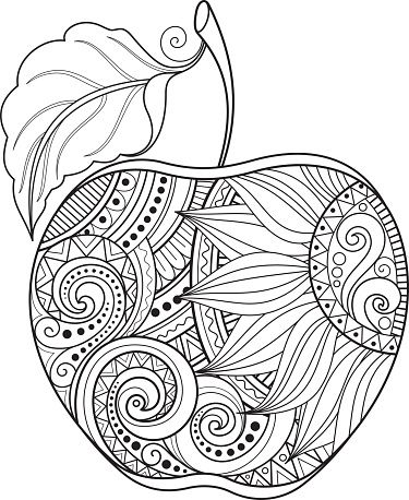 Vector Monochrome Contour Apple Hand Drawn Decorative Fruit En 2020 Mandalas Dibujos Para Colorear Adultos Mandalas Para Colorear Animales