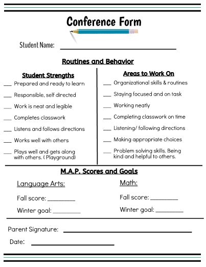 A Form To Share With Parents At The Fall Parent Teacher Conference