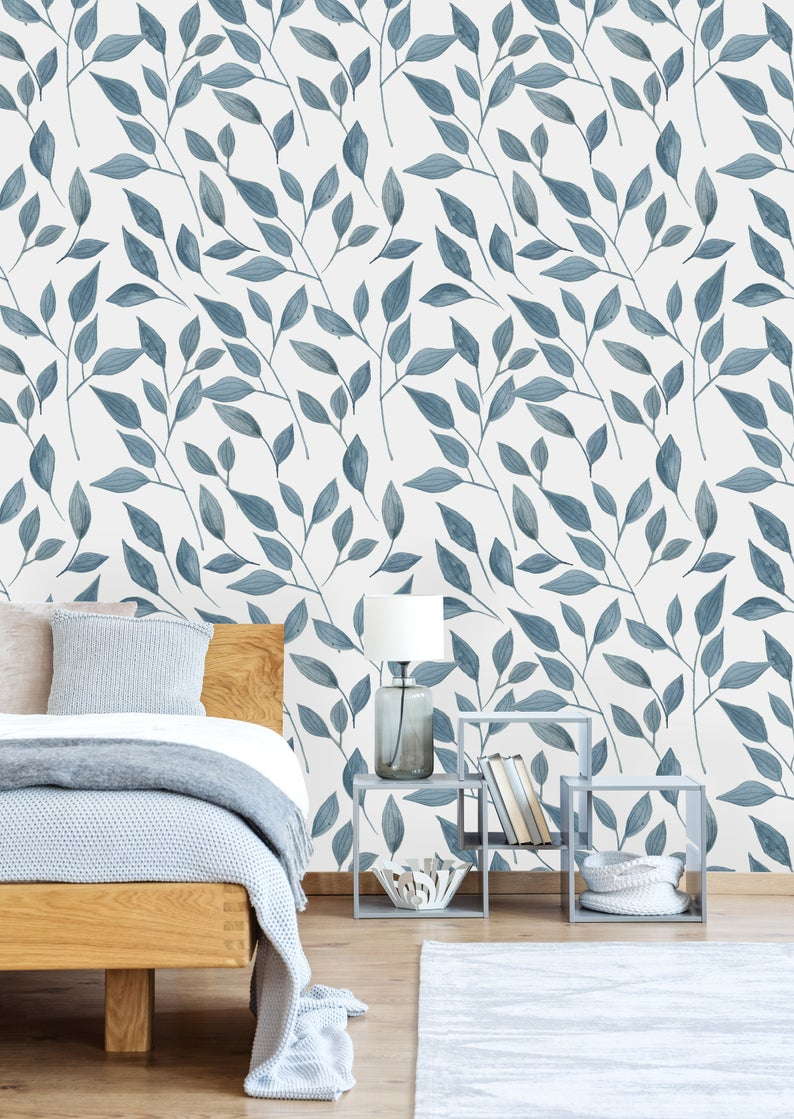 Removable Wallpaper Self Adhesive Wallpaper Handdrawn Blue Etsy In 2020 Peel And Stick Wallpaper Best Removable Wallpaper Removable Wallpaper