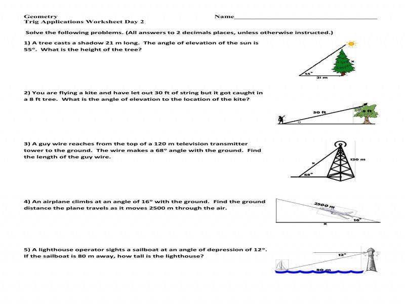Trig Word Problems Worksheet Homeschooldressage.com | Best ...