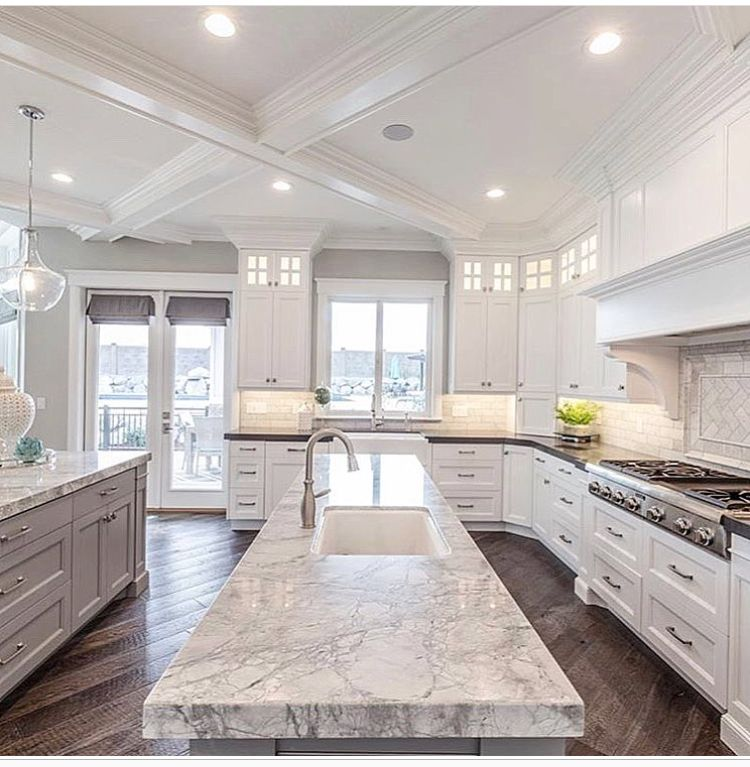 White Stone Counter, White Cabinets, Coffered Ceilings