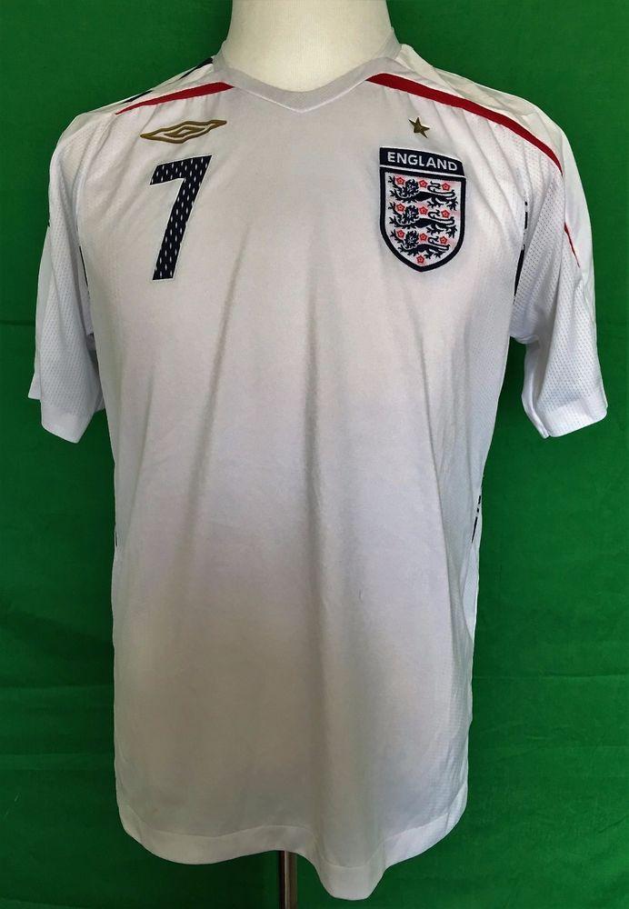 5769ba58b9be Vintage Umbro England National Soccer Football Team David Beckham 7 Jersey  Sz M  Umbro  England