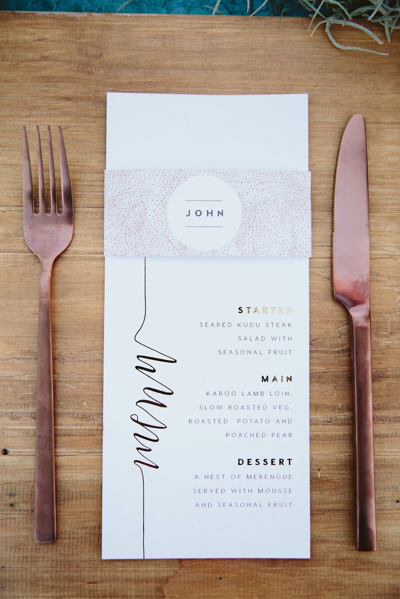 Bohemian Safari Wedding Inspiration by Coba Uys & Journey Weddings #menus