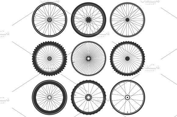 Bicycle Wheel Symbol Vector Bike Rubber Mountain Tyre Valve