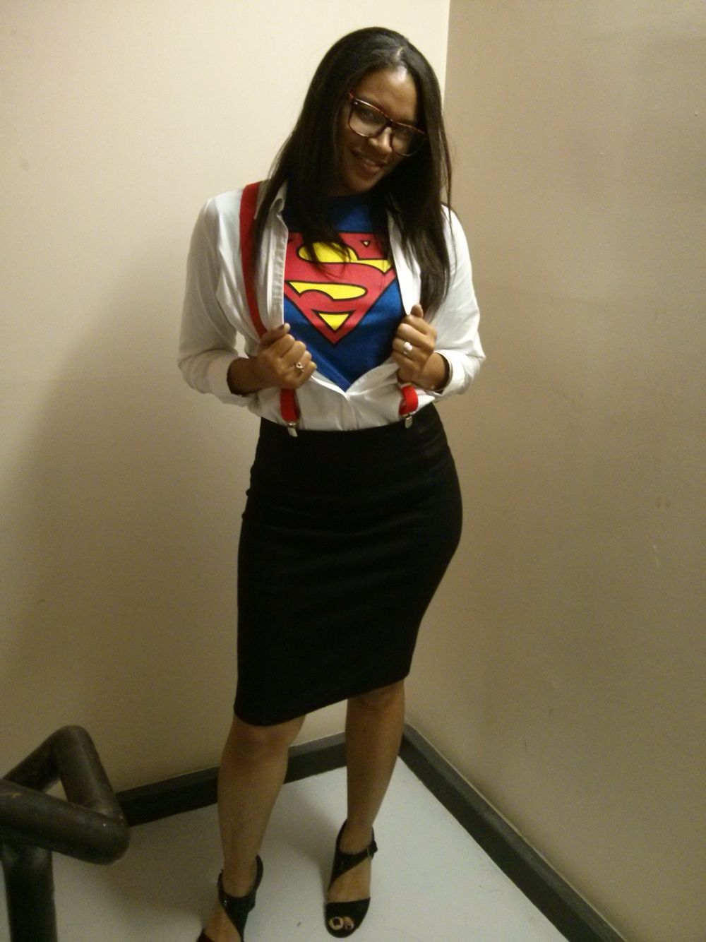 super woman incognito. easy halloween costume that is work