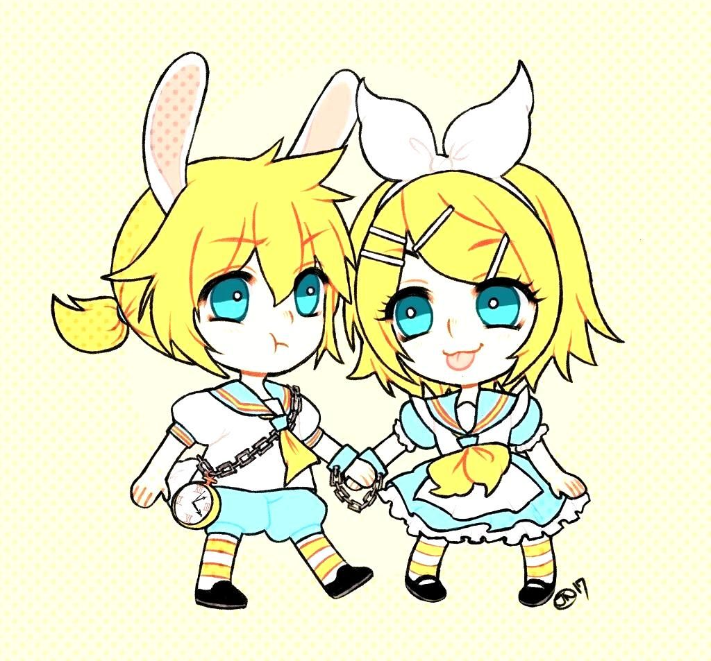 Alice in wonderland x Vocaloid Len and Rin. Where the rabbit cant run away from Alice. I drew thi..