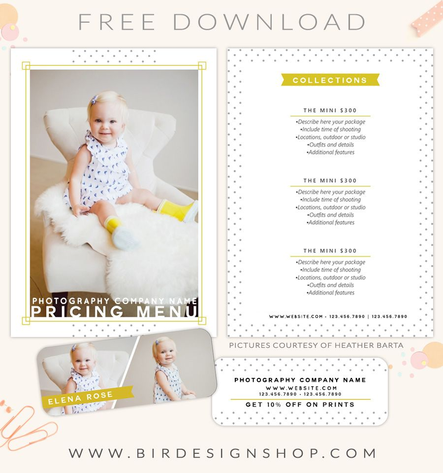 FREE pricing menu template (With images) | Photography ...
