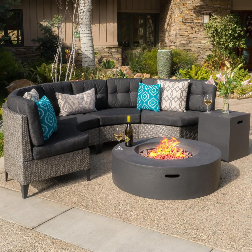 Noble House Mixed Black 6 Piece Wicker Patio Fire Pit