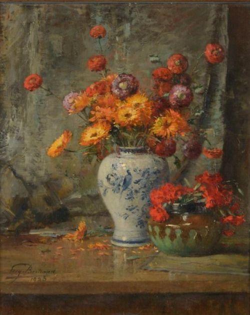 Eugène Bertrand (1858-1934) - Flower still life, oil on canvas, 60 x 50 cm. 1923.