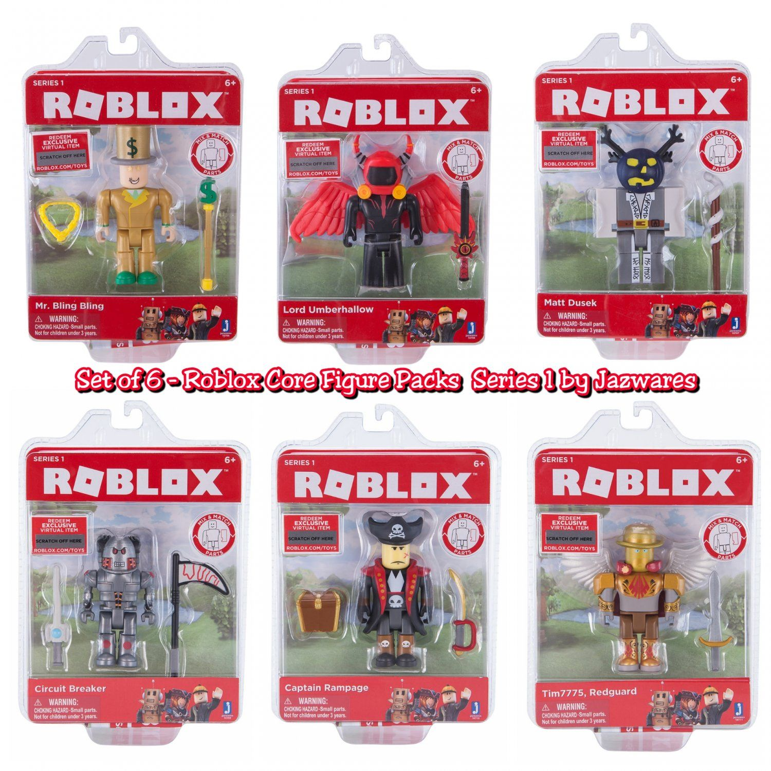 Set Of 6 Roblox Series 1 Core Figure Packs Mr Bling Bling - amazoncom roblox series 4 red brick mystery box toys games