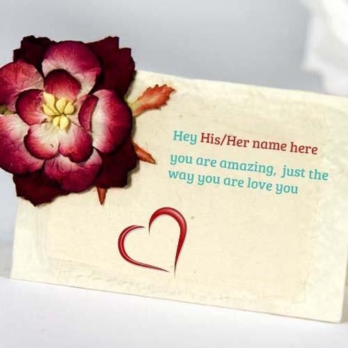 Print His Her Name And Your Name On Love Greeting Cards Create