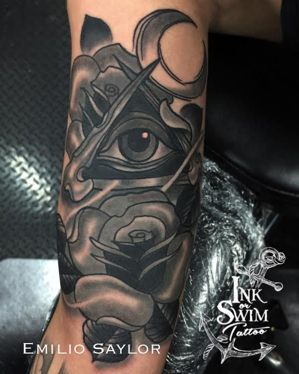 693d45a3fe6ed Black and Grey All Seeing Eye and Rose Cover Up Tattoo #inkorswimtattoo