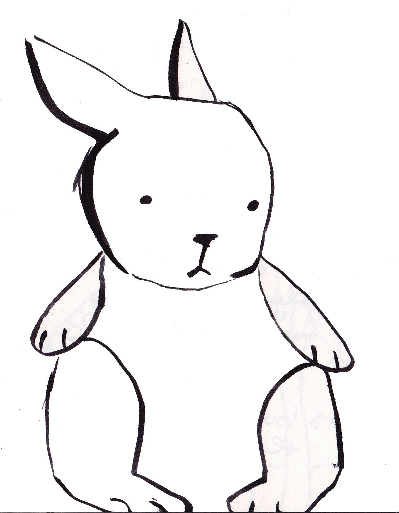 Simple Line Drawing Rabbit