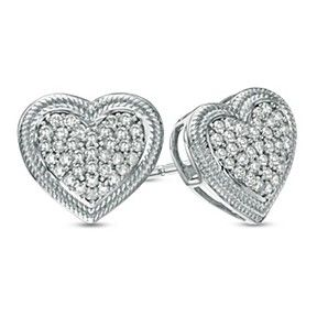 1/5 ct Natural Diamond Rope Frame Cluster Heart Stud Earrings in 10K White Gold by JewelryHub on Opensky