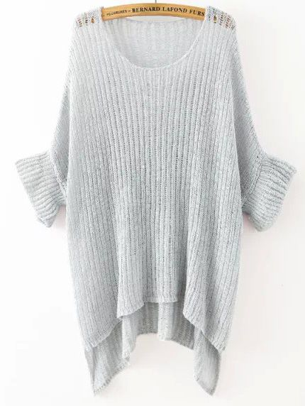 Grey Round Neck Split Loose Knit Sweater | MakeMeChic.COM | Loose ...