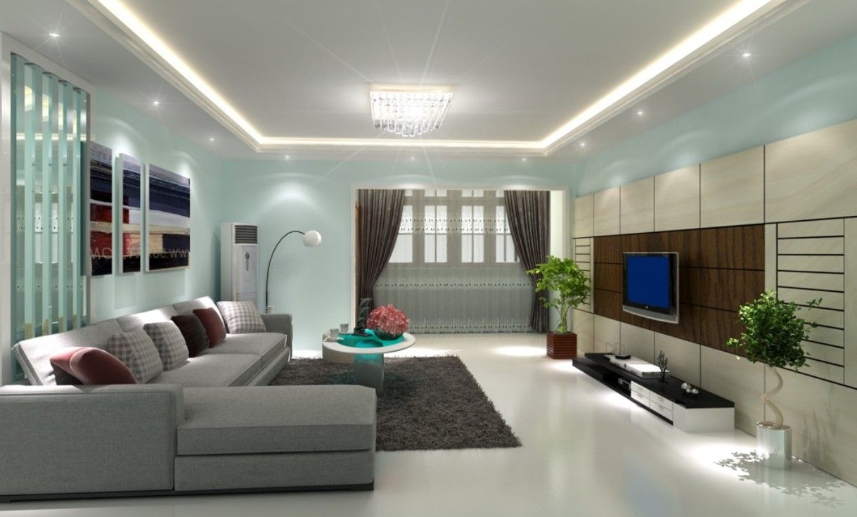 modern living room paint colors ideas with grey sofa white wall and hidden lamps - Color Of Walls For Living Room