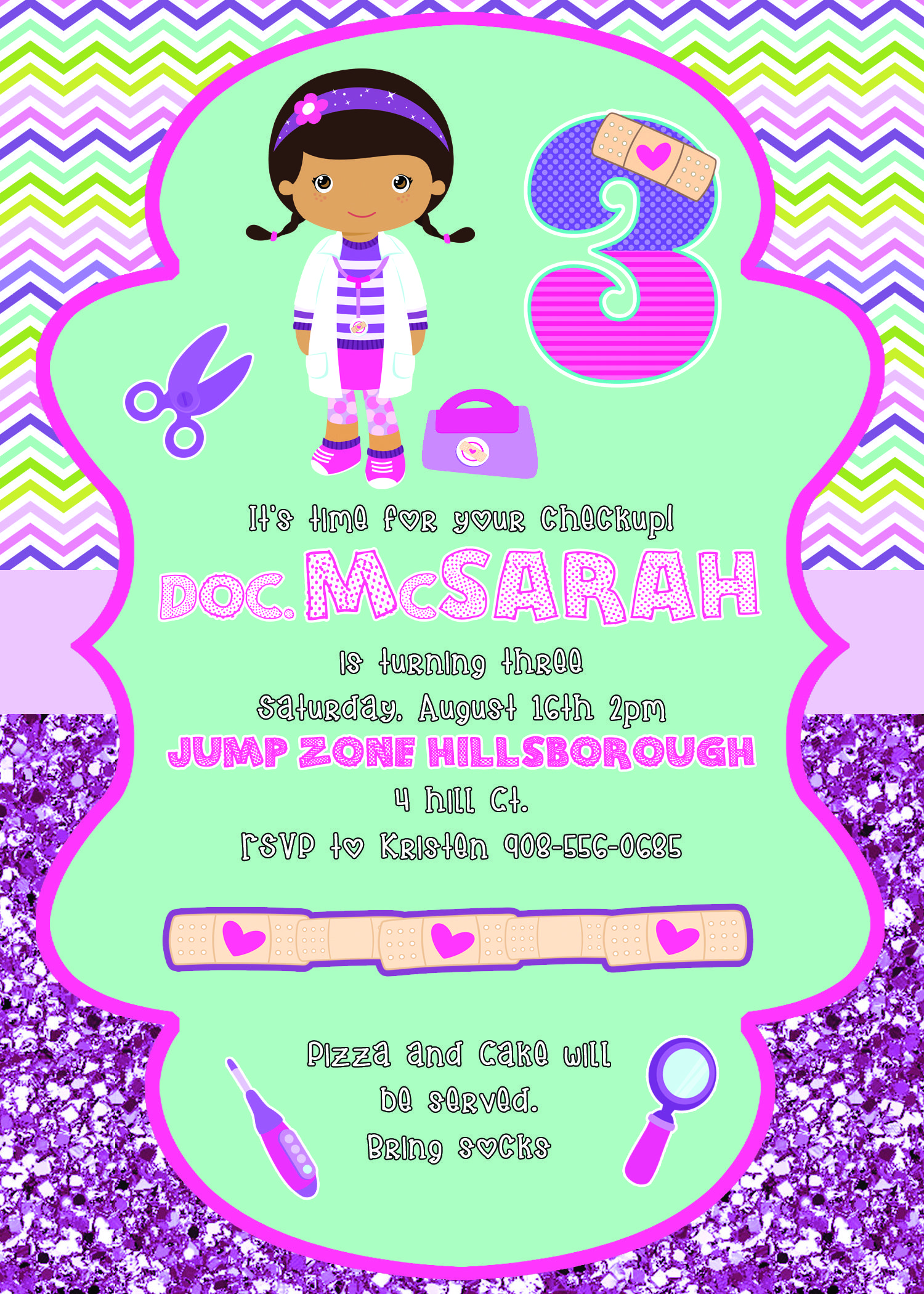 Doc Mcstuffins 5x7 party invitation $10.00 | Pattycakes Papers ...
