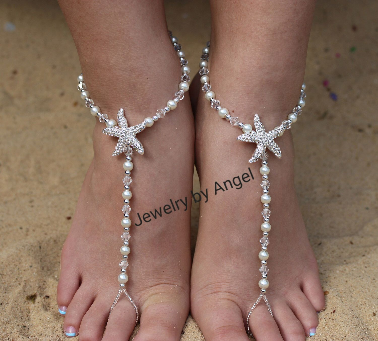 accessories formal wedding c beach occasion barefoot bridal shoes sandals anklet beaded clothing white jewelry starfish s