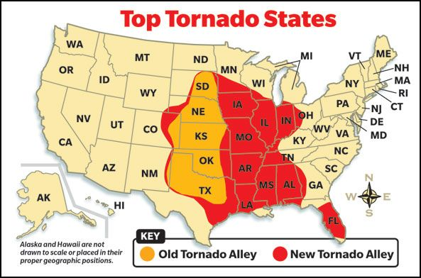 Top Tornado States Scholastic News Edition 3 Scholasticcom - Us-tornado-map